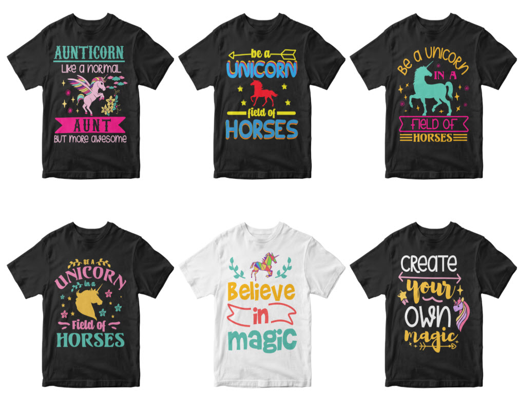 50-editable-unicorn-t-shirt-design-bundle