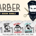 50 Editable Barber T-shirt Design Bundle
