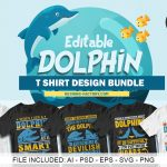 50 Editable Dolphin T-shirt design Bundle