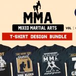 50 Mixed Martial Arts Editable T-shirt Design Bundle
